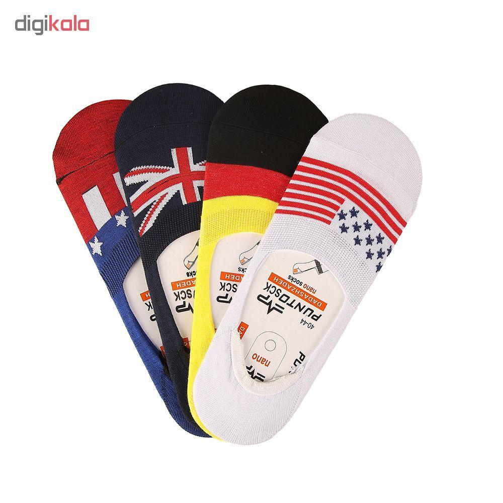 جوراب مردانه پانتو اسک طرح پرچم مجموعه 4 عددی main 1 2