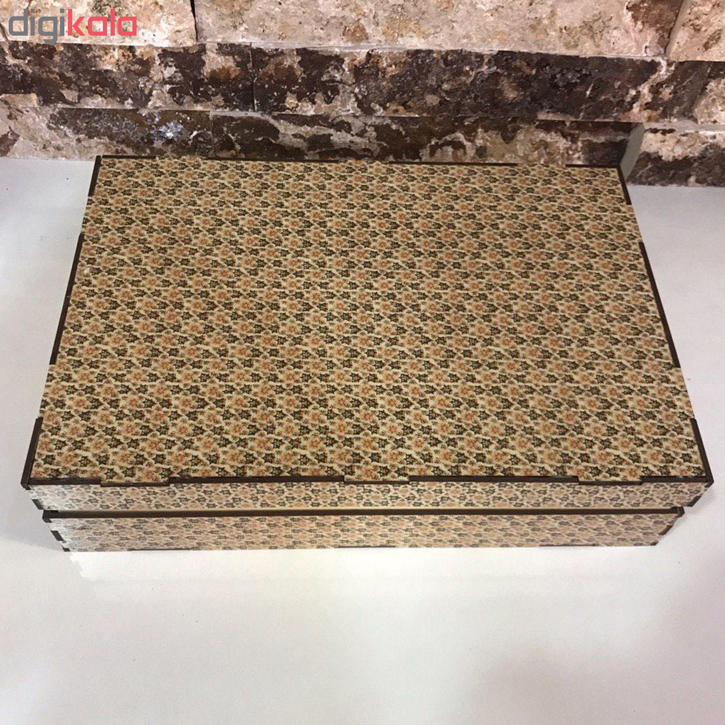 جعبه رومیزی تی بگ و تنقلات و زیر لیوانی مدل اصفهان کد KL34