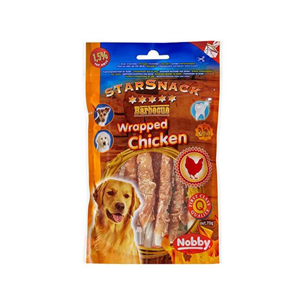 تشویقی سگ نوبی مدل starsnack chicken وزن 70 گرم