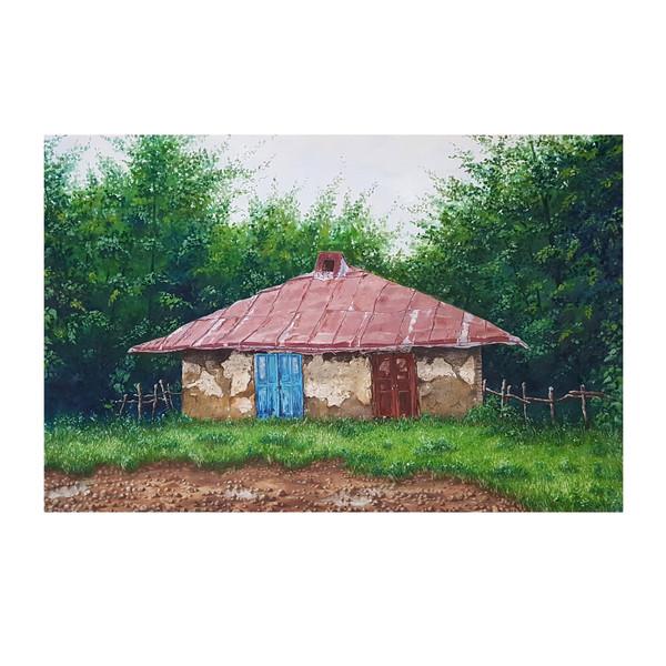 تابلو نقاشی رنگ روغن طرح خانه روستایی کد 3378579