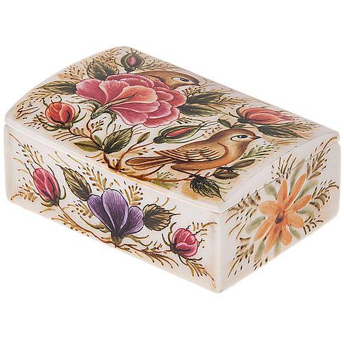جعبه استخوانی اثر بهشتی مدل کبریتی طرح گل و مرغ 3