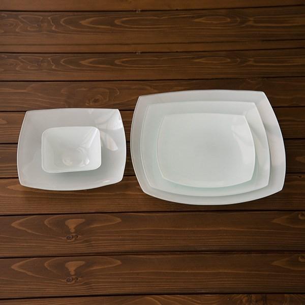 سرویس 25 پارچه غذاخوری شیشه ای آرکوفام مدل 752 کویین سفید