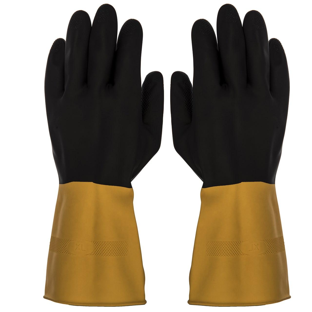 دستکش کار گیلان مدل سه لایه دو رنگ بسته 12 جفتی