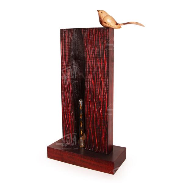 آباژور چوبی آرانیک قهوه ای طرح پرنده آوازخوان مدل 2217200009