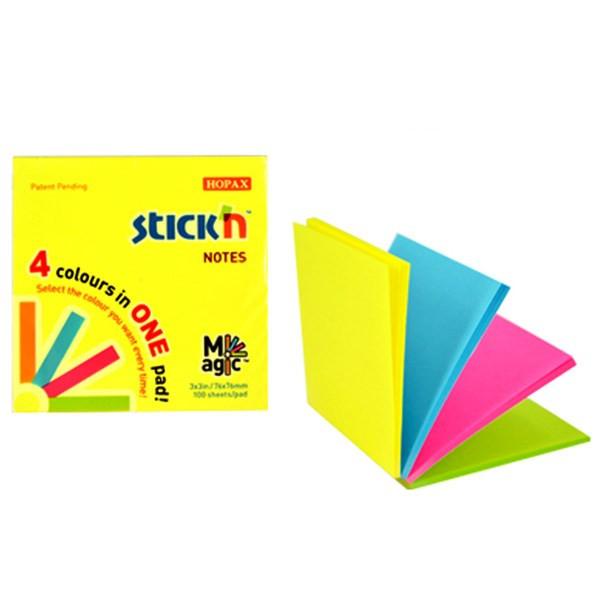 کاغذ یادداشت 4 رنگی هوپکس مربعی مدل نئون