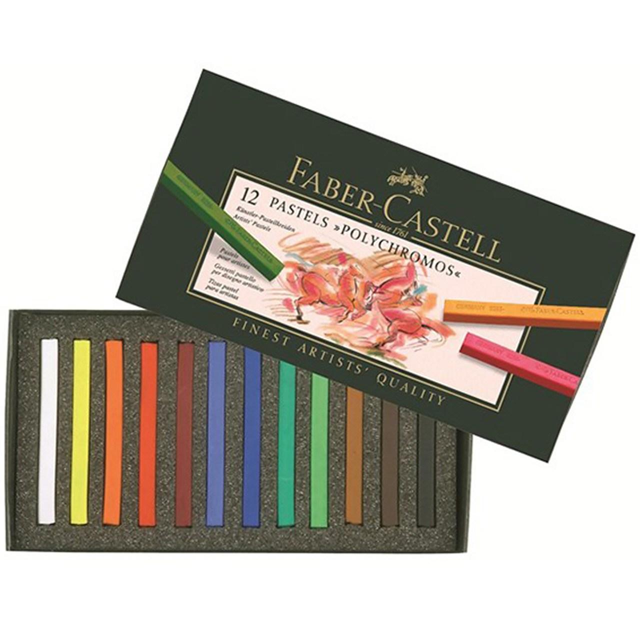 پاستل گچی 12 رنگ فابر-کاستل مدل Polychromos