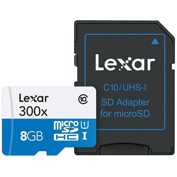 کارت حافظه microSDHC لکسار مدل High-Performance کلاس 10 استاندارد UHS-I U1 سرعت 45MBps به همراه آداپتور SD ظرفیت 8 گیگابایت