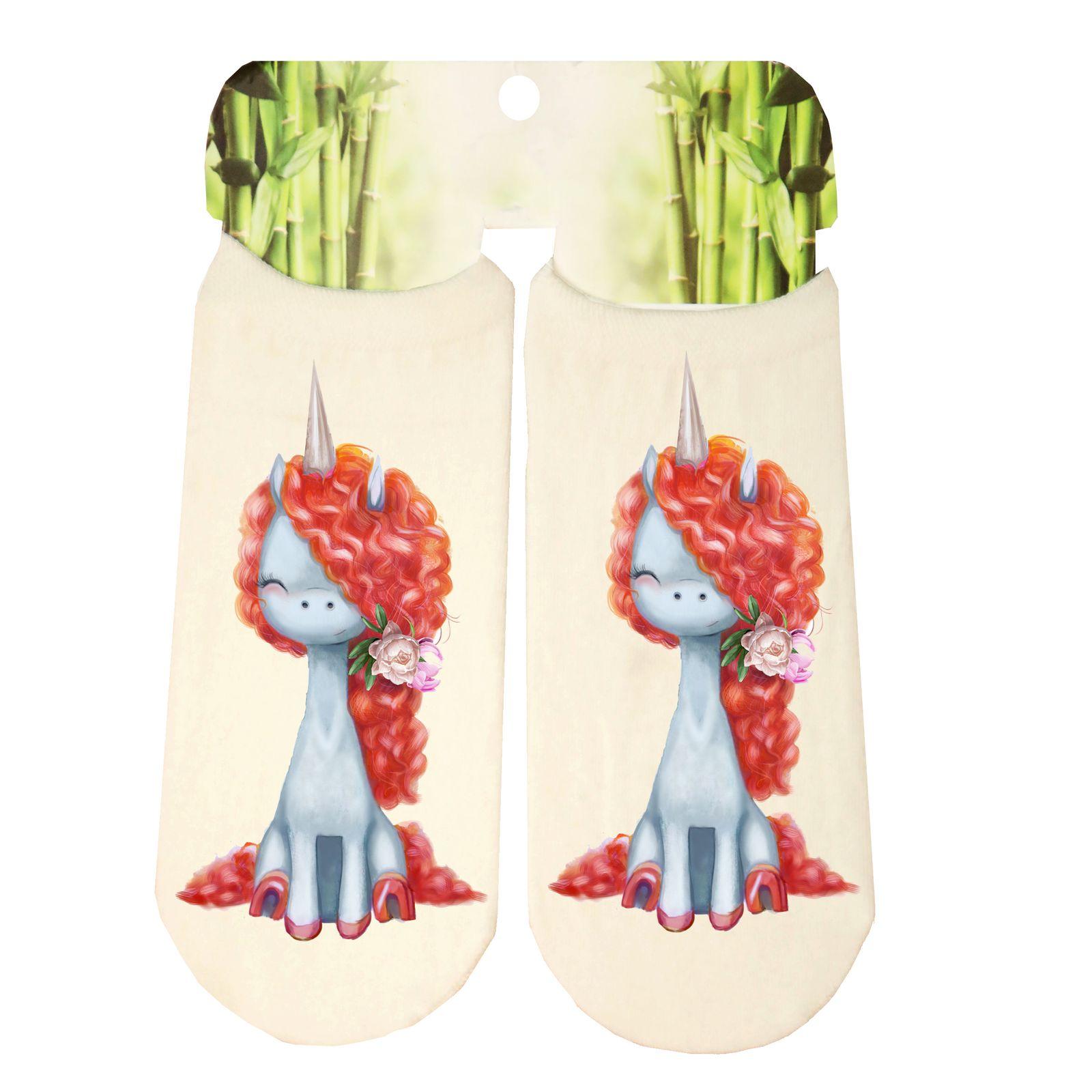 جوراب دخترانه طرح اسب تک شاخ کد SCb59 -  - 3