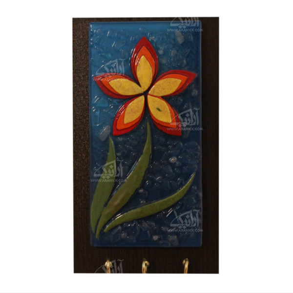 کلید آویز آبگینه موزائیک  رنگ قهوه ای طرح گل مدل 1005400013