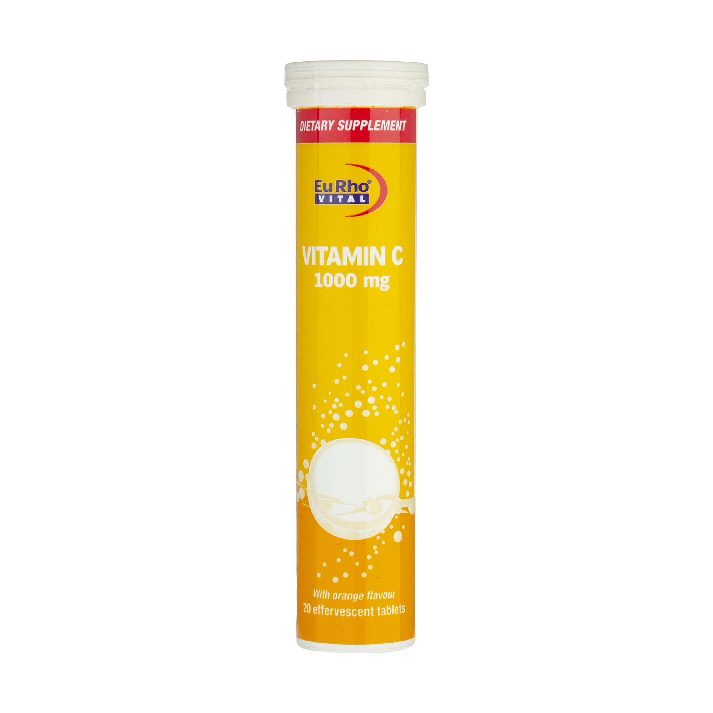 قرص جوشان ویتامین سی 1000 میلی گرمی یوروویتال بسته 20 عددی