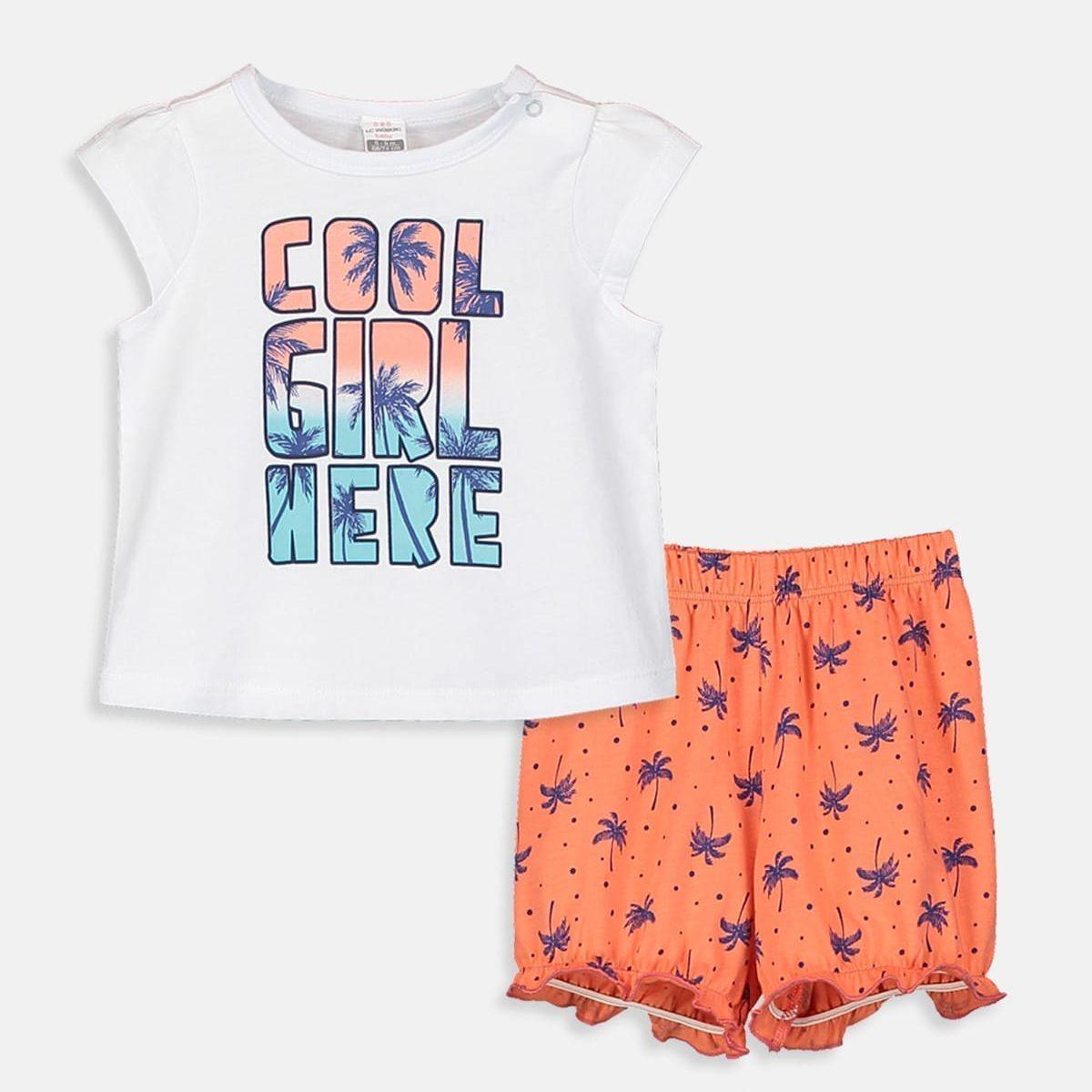 ست تی شرت و شلوارک دخترانه ال سی وایکیکی مدل 9SO753Z1 -  - 3