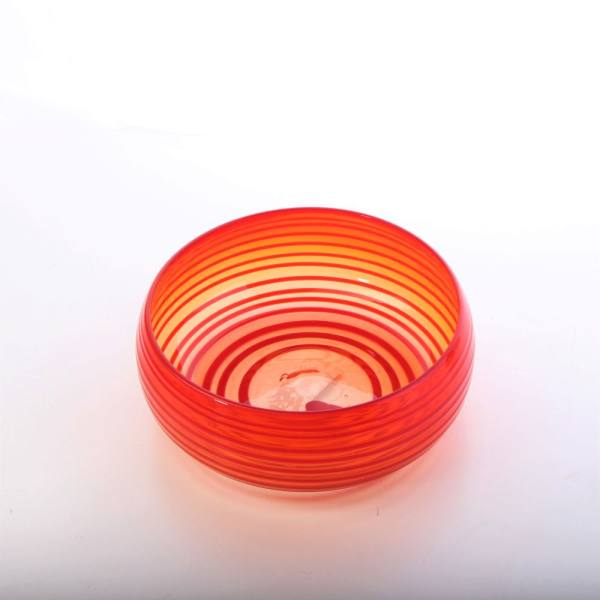 کاسه شیشه گری فوتی آرانیک گرد  رنگ نارنجی طرح نوار دار مدل  1003800010