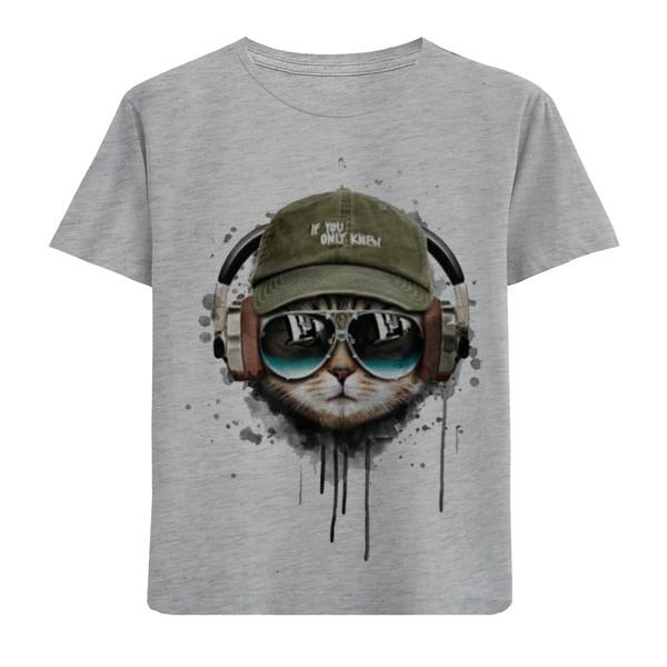 تیشرت آستین کوتاه پسرانه طرح گربه کد F103