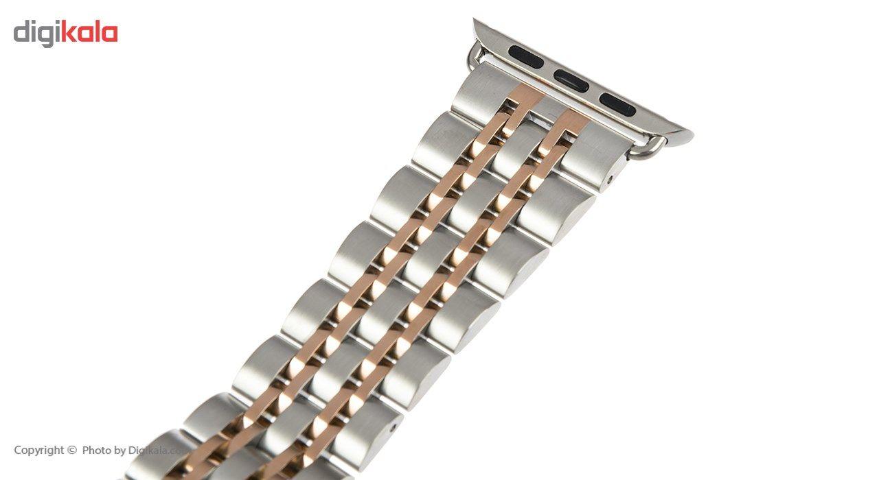 بند فلزی دو رنگ فشن واچ بند مدل Born To Love مناسب برای اپل واچ 42 میلی متری main 1 5