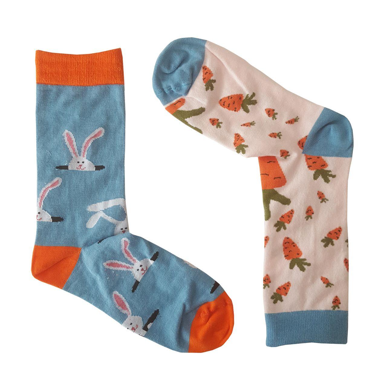 جوراب ال سون طرح هویج و خرگوش مدل مادر و کودککد PH406 -  - 5