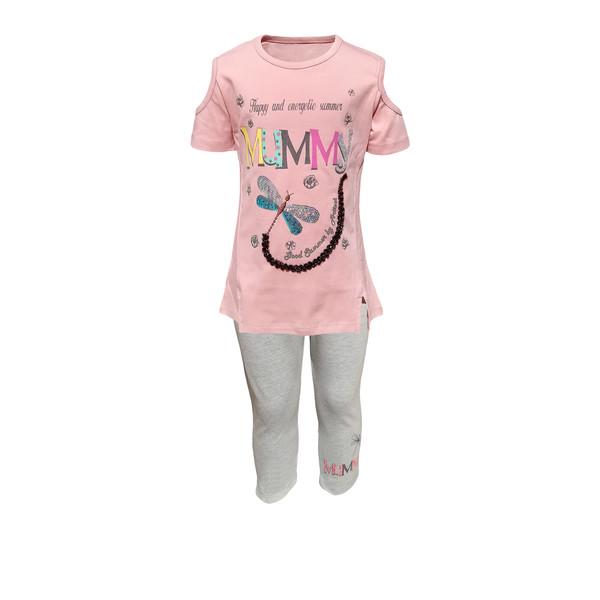 ست تی شرت و شلوارک دخترانه کد 10098-1