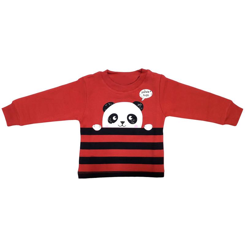 ست سویشرت و شلوار پسرانه طرح پاندا کد 3079 رنگ قرمز