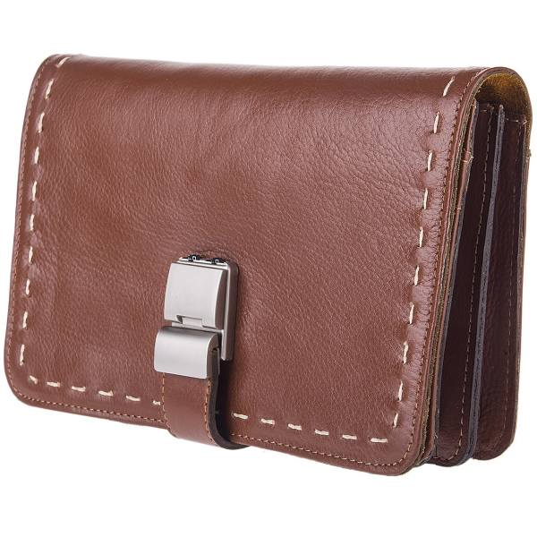 کیف دستی چرم طبیعی گالری ماندگار مدل پاسپورتی رمزدار136014