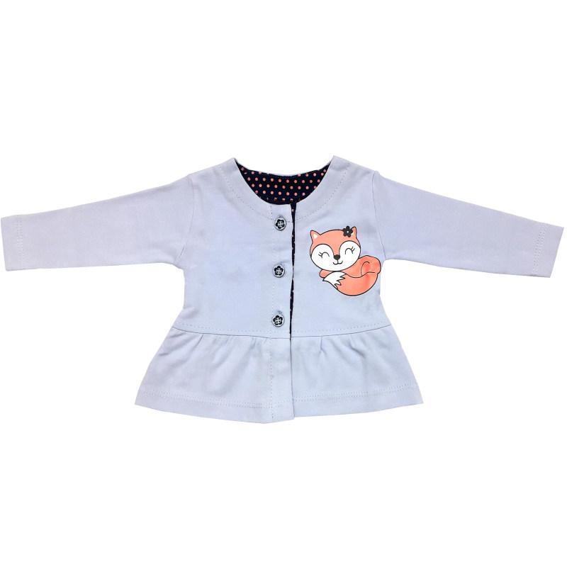 ست 3 تکه لباس نوزادی دخترانه طرح روباه کد 124