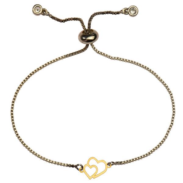 دستبند طلا 18 عیار دخترانه کرابو طرح دو قلب مدل Krd1133