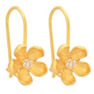 گوشواره طلا 18 عیار دخترانه طلای مستجابی طرح گل مدل 71