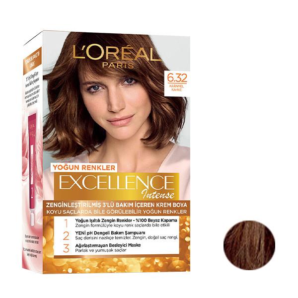کیت رنگ مو لورآل مدل Excellence شماره 6.32 حجم 48 میلی لیتر رنگ کاراملی