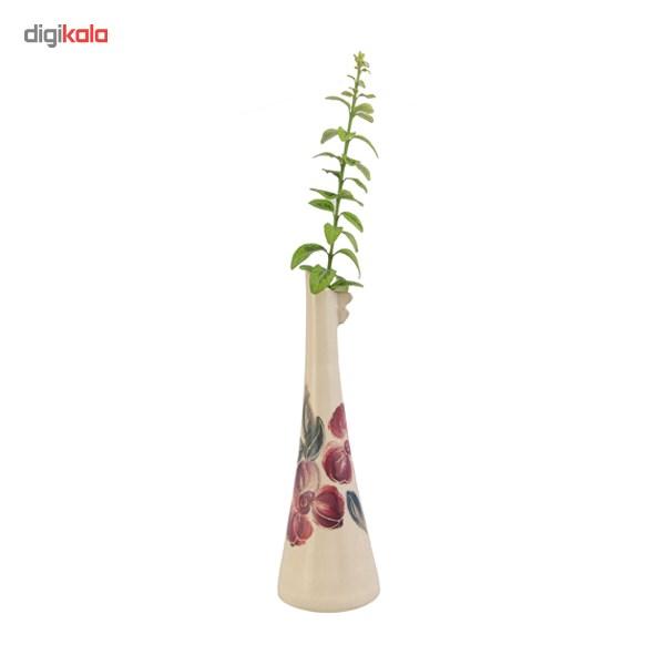 گلدان سفالی قندیل فرتاش کد 171023 طرح گل صورتی