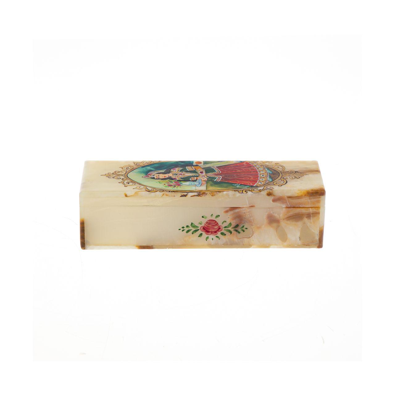 جعبه جواهرات سنگی طرح بانوی قجری مدل MR30