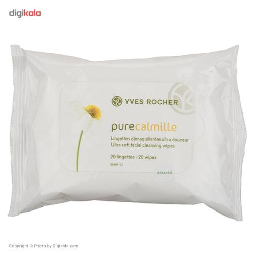 دستمال مرطوب ایو روشه پاک کننده آرایش مدل Pure Calmille - بسته 20 عددی
