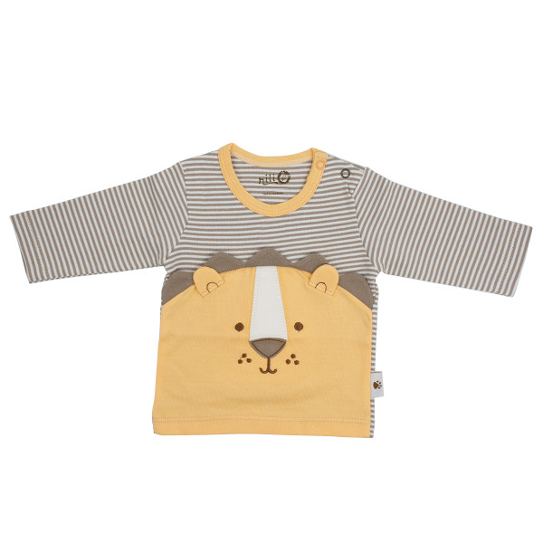 تی شرت آستین بلند نوزادی نیلی مدل Lion 212