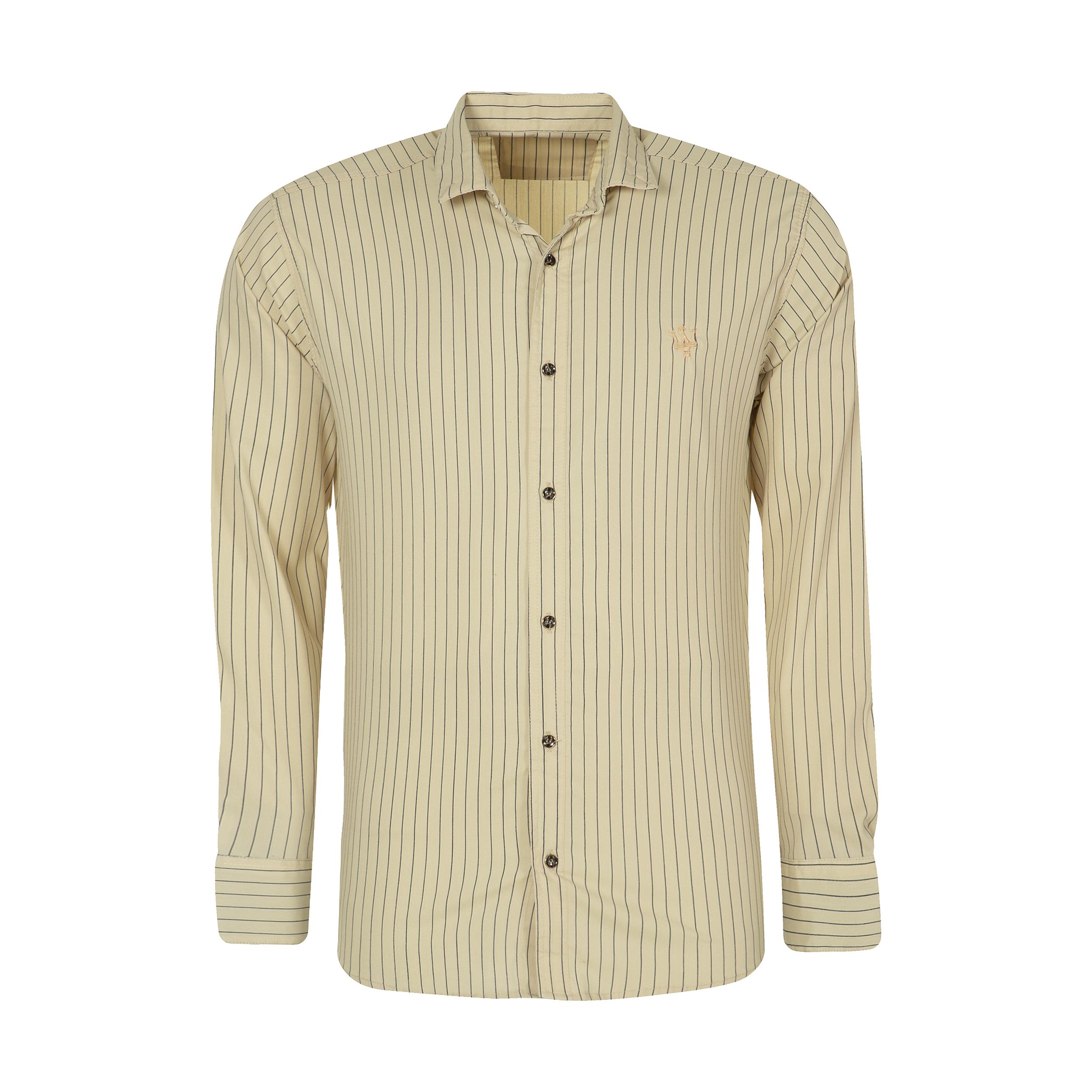 پیراهن آستین بلند مردانه کد PVLF DIP K 9905 رنگ کرم