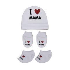 ست کلاه و پاپوش و دستکش نوزادی کد 990701