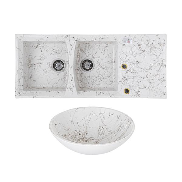 ست سینک ظرفشویی مدل Amatis به همراه کاسه روشویی و اتصالات