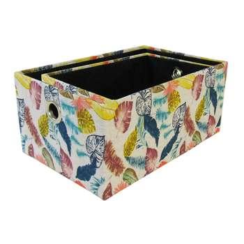 جعبه ارگانایزر هوم اند لایف مدل تویینز طرح برگ های رنگی مجموعه 2 عددی