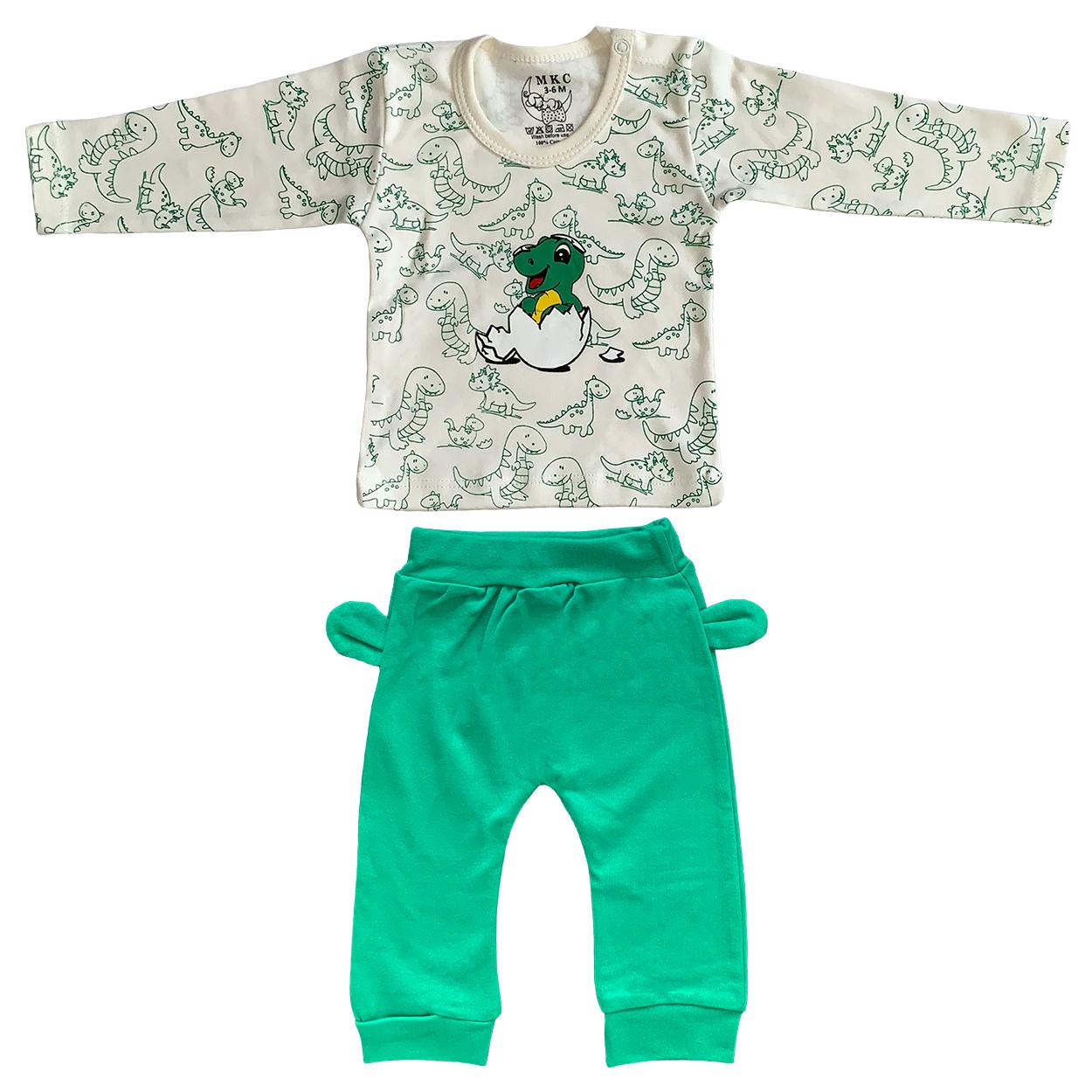 ست تی شرت و شلوار نوزادی طرح دایناسور کد FF-082 -  - 3