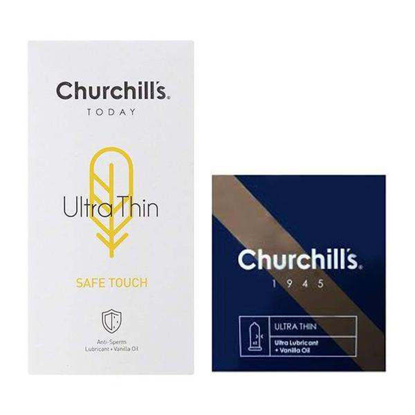 کاندوم چرچیلز مدل Safe Touch بسته 12 عددی به همراه کاندوم چرچیلز مدل Ultra Lubricant بسته 3 عددی