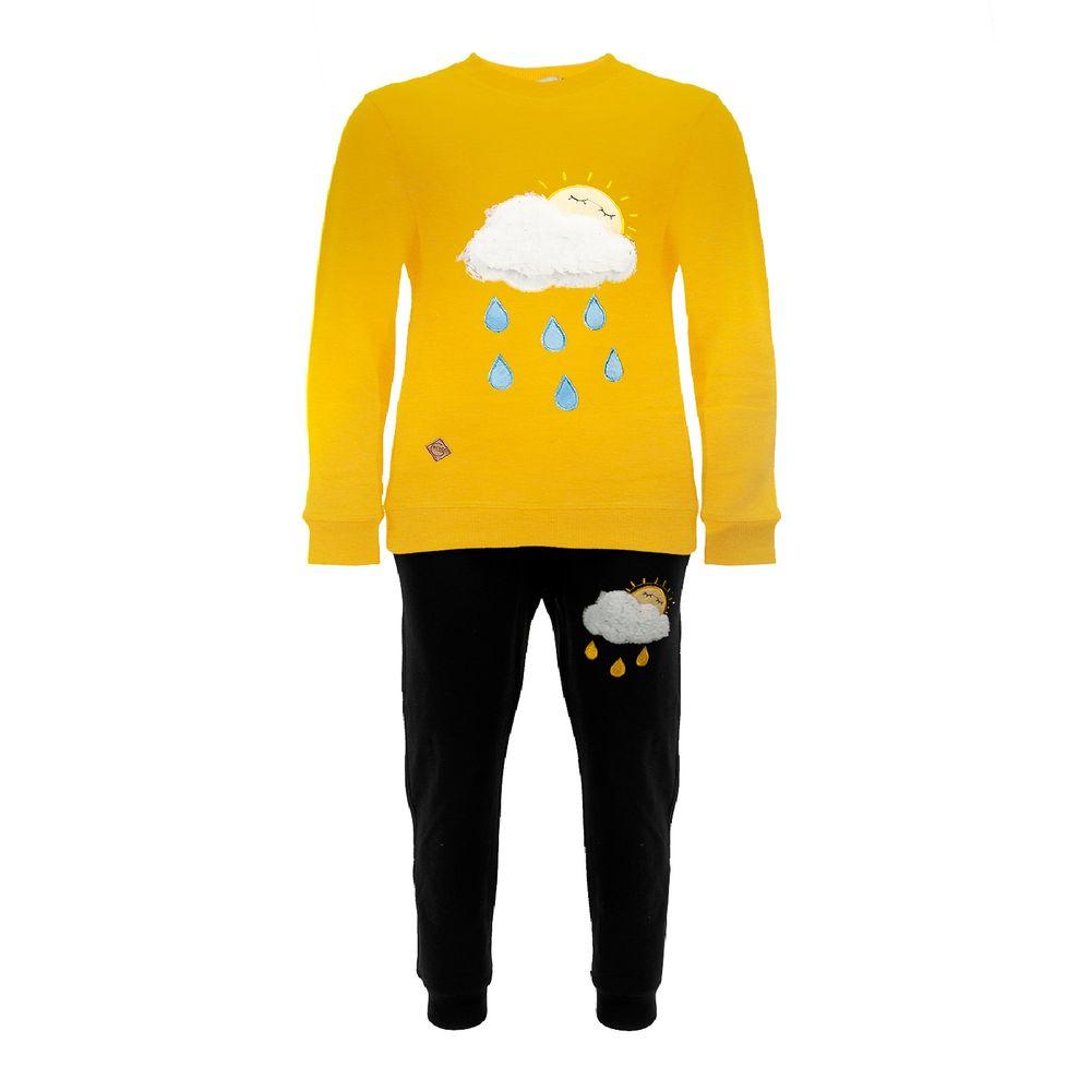 ست تیشرت و شلوار پسرانه طرح ابر کد 403 رنگ زرد