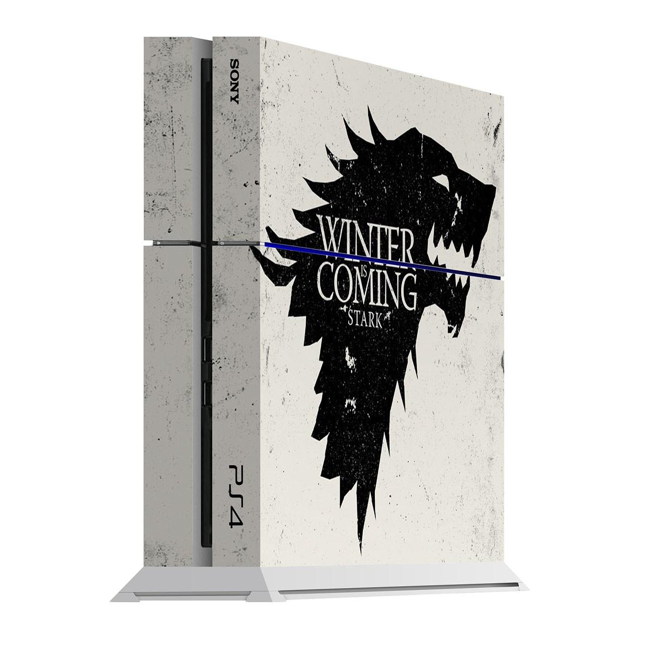 برچسب عمودی پلی استیشن 4 ونسونی طرح Winter is Coming White
