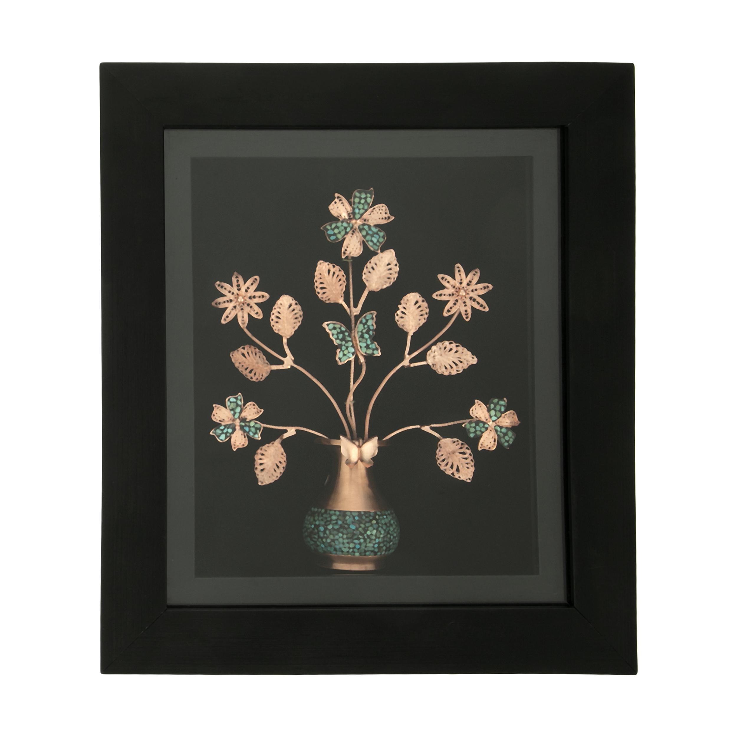 تابلو فیروزه کوبی طرح گل و گلدان کد 2
