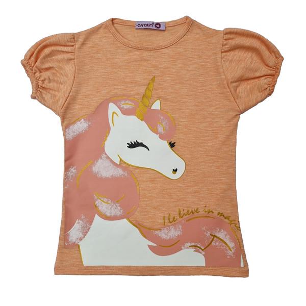 تی شرت دخترانه افراتین مدل اسب شاخ دار رنگ گلبهی