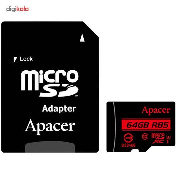کارت حافظه microSDXC اپیسر کلاس 10 استاندارد UHS-I U1 سرعت 85MBps همراه با آداپتور SD ظرفیت 64 گیگابایت main 1 1