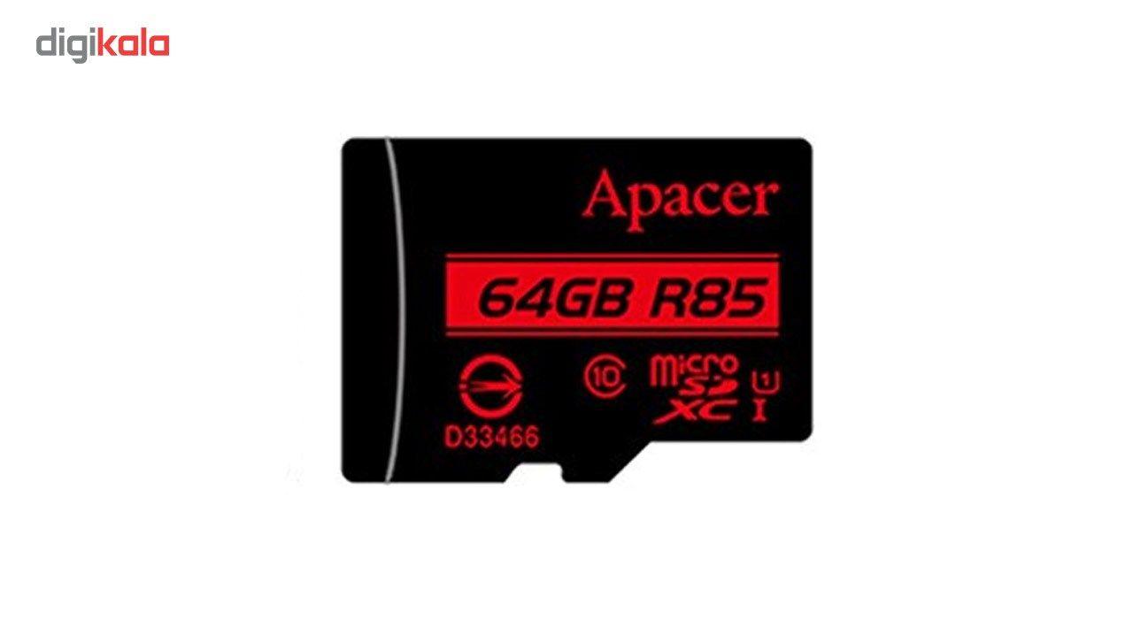 کارت حافظه microSDXC اپیسر کلاس 10 استاندارد UHS-I U1 سرعت 85MBps همراه با آداپتور SD ظرفیت 64 گیگابایت main 1 3