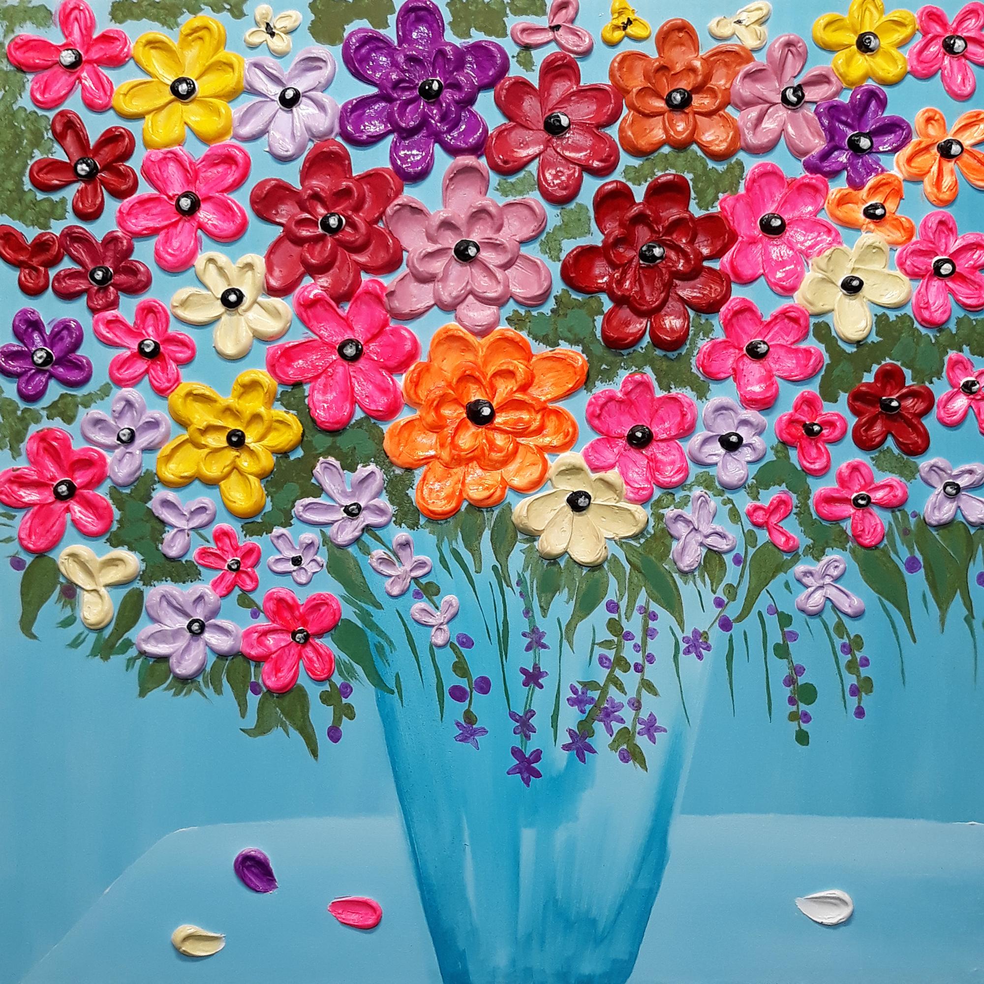 تابلو نقاشی میکس مدیا طرح حوض نقاشی برجسته کد 120