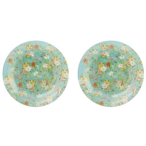 بشقاب پلو خوری شیشه ای گل دار گالری سیلیس مدل 180008 مجموعه دو عددی