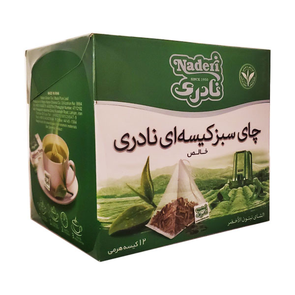 چاي سبز كيسه اي خالص نادري بسته 12 عددي