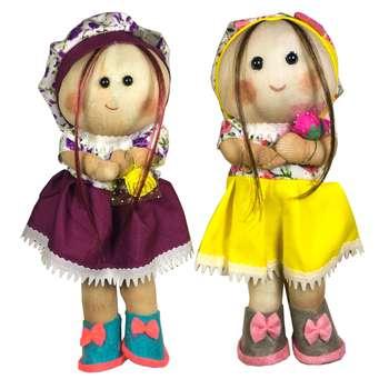 عروسک طرح دختر روسی کد R25 ارتفاع 24 سانتی متر مجموعه 2 عددی