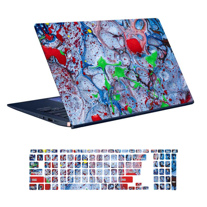 استیکر لپ تاپ توییجین و موییجین طرح Colorful کد 68 مناسب برای لپ تاپ 15.6 اینچ به همراه برچسب حروف فارسی کیبورد