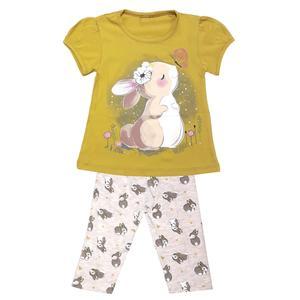 ست تی شرت و شلوارک دخترانه مدل خرگوش کد 3297 رنگ سبز روشن