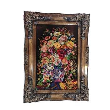 تابلو فرش دستباف طرح گل و گلدان مدل 522