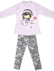 ست تی شرت و شلوار دخترانه طرح دختر و خرگوش کد 3075 رنگ صورتی -  - 1
